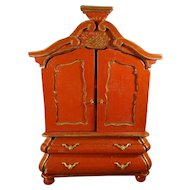 Red Miniature Chinoiserie Bombe Cupboard