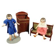 Pair of All Bisque Flapper Dolls