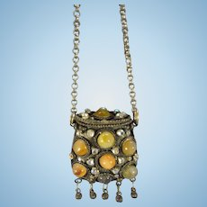 Great  Doll Purse with Glass Beads on Metal