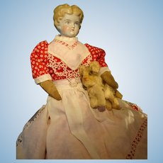 "19"" Blonde Hair China in Red Calico Dress Apron"