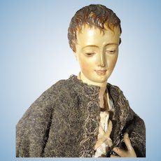"""16"""" Antique Wooden Neopolitan with Exquisitely Carved Face and Hair"""