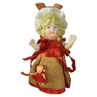 "4 1/2"" All Bisque Bonnet Head Doll with Her Baby Doll"