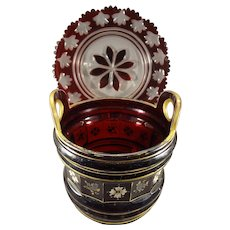 Ruby Red Glass Bowl and Cut Glass Plate