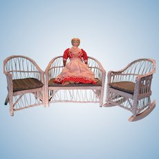Doll Size White Wicker Patio Furniture