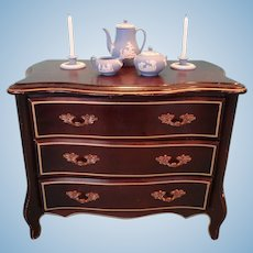 Doll's Three Drawer Chest with Gilt Handles