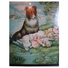 Framed Picture of a Sleeping Girl with Her Doll and Dog
