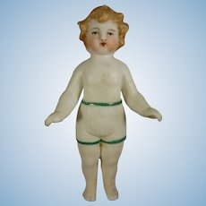 "3 1/2"" All Bisque Doll with Bare Feet and Molded Shorts"