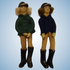 Pair of Dolls Dressed in Horse Riding Gear