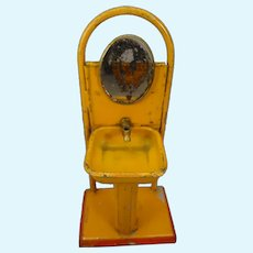 Tin Painted Miniature Sink and Mirror for Doll Display