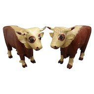 Pair of Carved and Painted Wood Antique Bulls