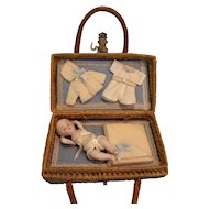 Presentation Baby in Wicker Basket with Provenance
