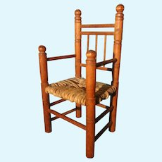 Small Doll's Arm Chair with Woven Seat