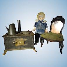 Antique German Metal Stove with Teapot and Pan