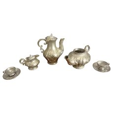 Miniature Pewter Tea and Coffee Set for Doll House Display