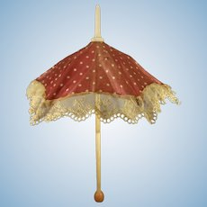 Beautiful Silk Parasol with Lace Trim for Fashion Doll
