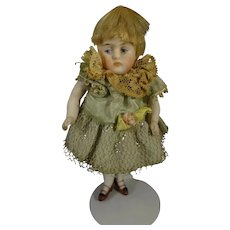 """4"""" All Bisque Kestner Doll with Blonde Wig"""