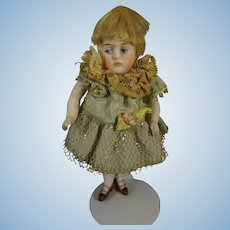"4"" All Bisque Kestner Doll with Blonde Wig"