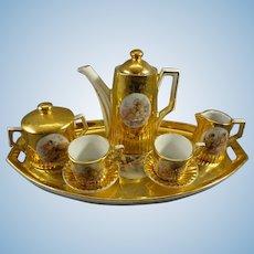 Miniature Porcelain Tea/Coffee Set with Putti Transfers