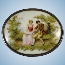 Beautiful Silver Box with Porcelain Romantic Scene
