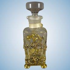 Lovely Glass Perfume Bottle in Brass Encasement