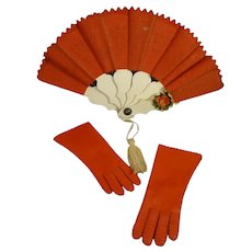 Red Leather Fashion Gloves