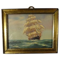 Miniature Framed Picture of Clipper Ship