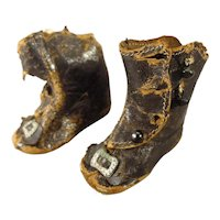 Doll's Leather Boots with Buckles