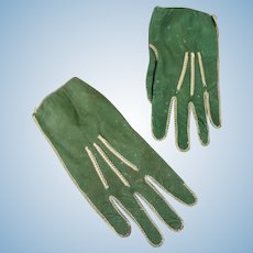 French Fashion Gloves in Green Suede