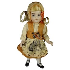 "6"" All Bisque Doll with Swivel Head and Glass Eyes"