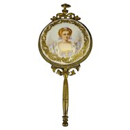 Porcelain and Gilt Bronze Miniature Hand Mirror
