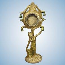Miniature Gilt Metal Clock Art Nouveau