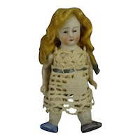 """3 1/2"""" All Bisque Doll with Blonde Wig"""