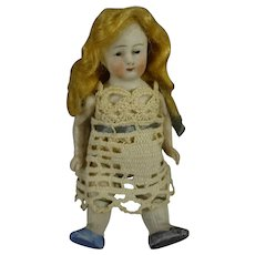 "3 1/2"" All Bisque Doll with Blonde Wig"