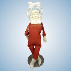 "Lovely 6"" Bonnet Head Doll on Red Body"