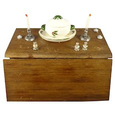 Gateleg Table set with Holiday Casserole and Candlesticks for Doll House