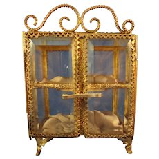 Miniature Antique Ormolu and Beveled Glass Vitrine