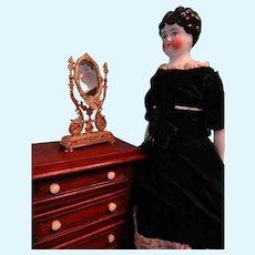 """14"""" Black Hair China in Velvet Dress"""