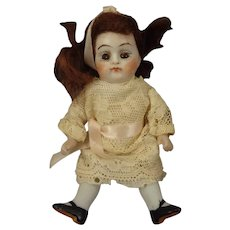 """Lovely 4 1/2"""" All Bisque Doll with Sleep Eyes"""