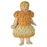Miniature All Bisque Carl Horn Doll in Crocheted Dress