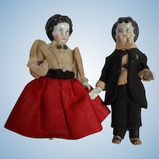 "Pair Early 4"" All Bisque Charlottes Dressed"