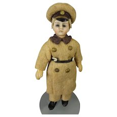 "3 1/2"" All Bisque Chauffeur Doll House Doll"