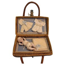 Lovely Presentation Baby in Wicker Basket with Provenance