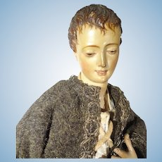 "16"" Antique Wooden Neapolitan with Exquisitely Carved Face and Hair"