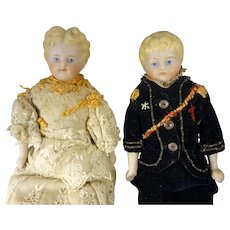 "Beautiful 9"" Tall  German Bisque Couple"