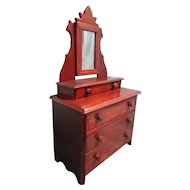 Antique Doll Dresser with Mirror