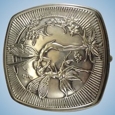 French Silver Compact with Mirror
