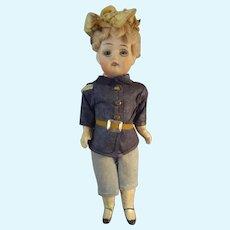 "6"" Bisque Doll in Original Uniform"