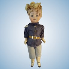"6"" Bisque Doll in Original Uniform"