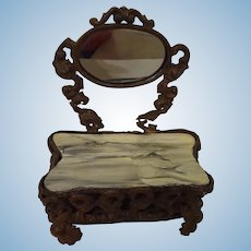 Ormolu Dressing Table with Faux Marble Top