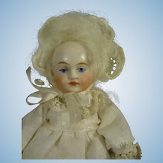 "4"" All Bisque Doll with Blue Shoes"